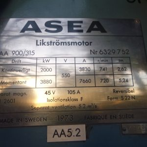 # K 655 ASEA 2 MW Motor Housing-Field Winding  Typical  Ser No 632976 (2)
