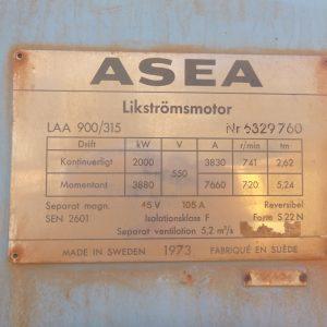 # K 657 ASEA 2 MW DC  Motor 550V 3830 A Ser No 6329760   (7)